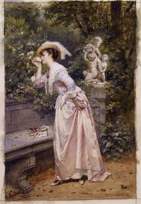 417px-An_elegant_lady_smelling_roses_by_Hendrik_Jacobus_Scholten_(1824-1907)