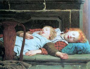 800px-Anker_Zwei_schlafende_Mädchen_auf_der_Ofenbank